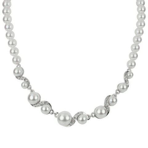 Pearls and Crystals Necklace - Clear/White