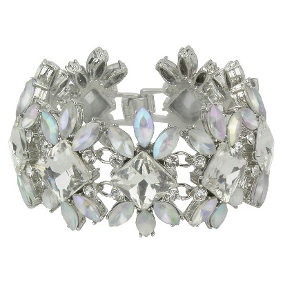 Square Facet and Frosted Flower Shaped Bracelet - Clear