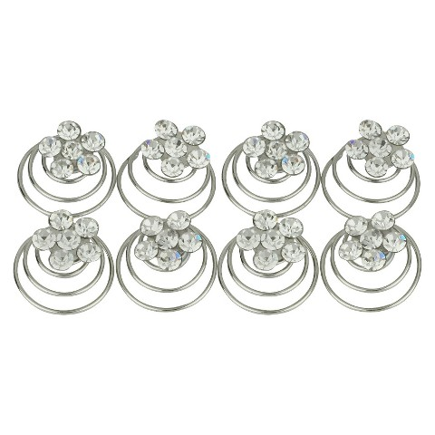 8 Piece Crystal Spiral Hair Pins - Silver