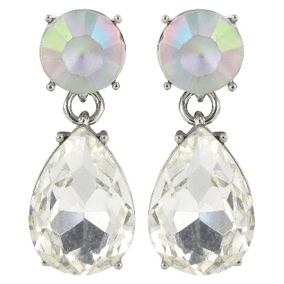 Round Frosted and Teardrop Earrings - Clear