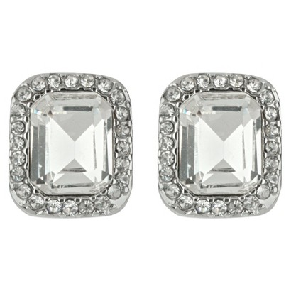 Square Crystal Button Earrings - Clear