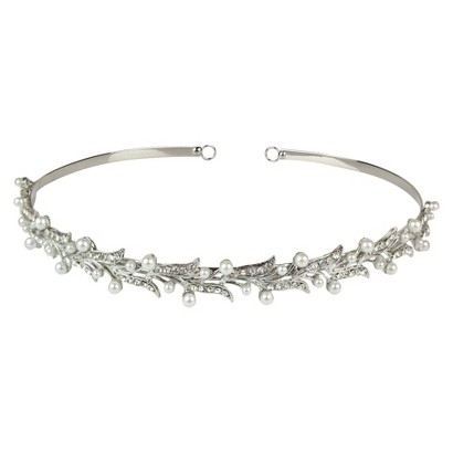 White Pearls and Crystals Headband - Clear
