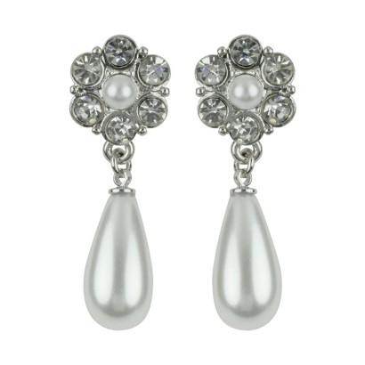 Teardrop Crystals & Pearls Earrings - Clear/White