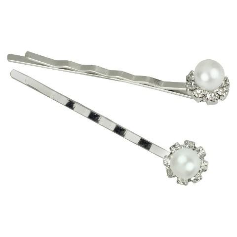 2 Piece Pearl Bobbie Pins - Silver