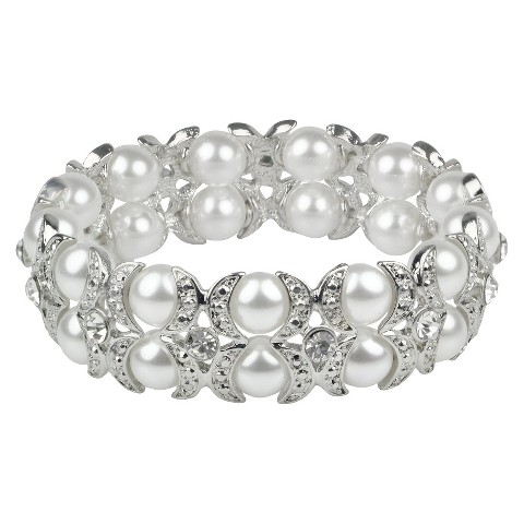 Crystals & Pearls Bracelet - Clear/White