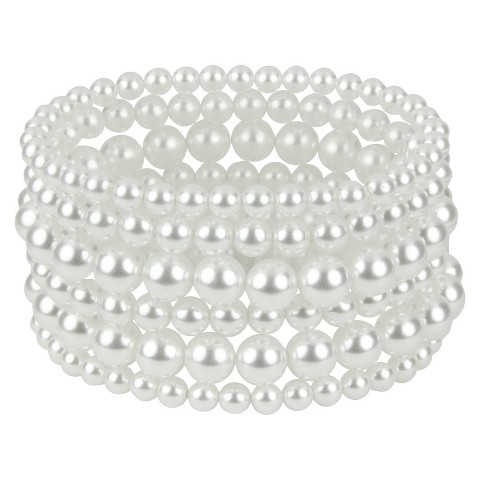 Stretch Pearl Bracelet - Clear/White