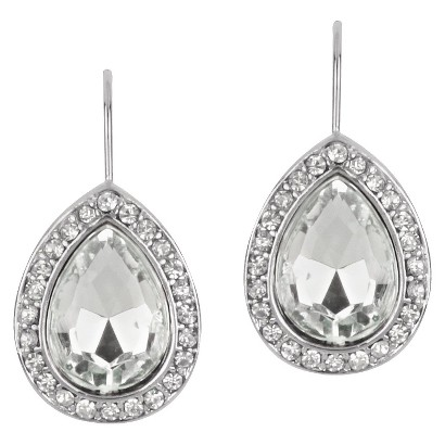 Teardrop Earrings with Crystals - Clear
