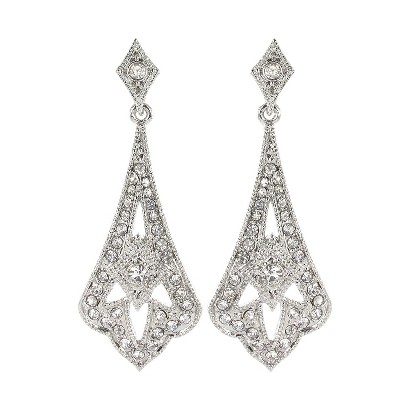 Crystal Drop Earrings - Clear