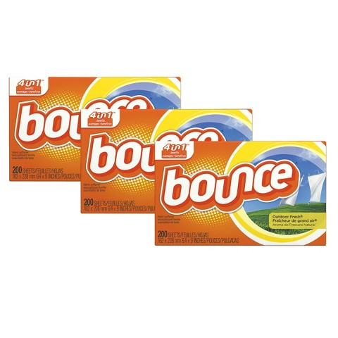 Bounce Outdoor Fresh Scent Fabric Softener Dryer Sheets 200 ct, 3 pk