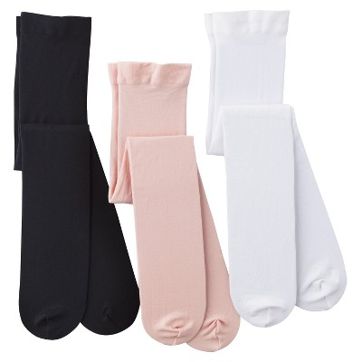 Toddler Girls' 3-Pack Tights - Black/White/Pink 4T/5T