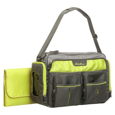 Eddie Bauer Easy Access Duffle Diaper Bag - Black/Lime