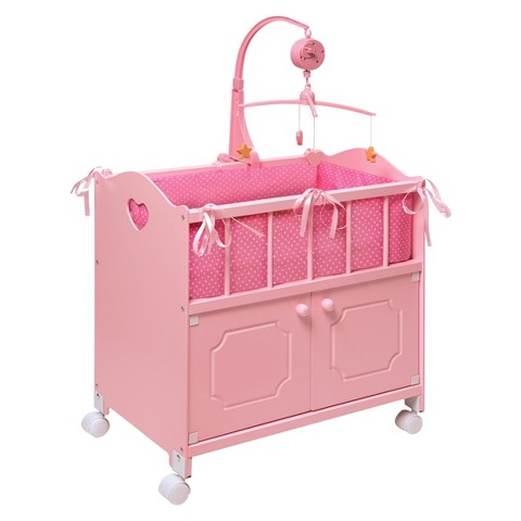 Badger Basket Doll Crib With Cabinet - Pink