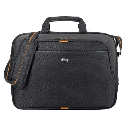 SOLO Black with Orange Accents Urban Slim Briefcase