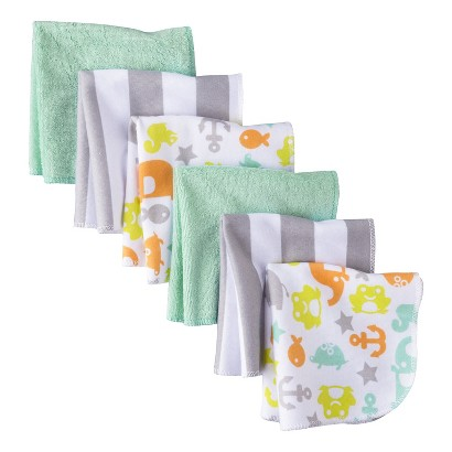 CIRCO® INFANT 6 PACK WASHCLOTH SET - GREY/GREEN