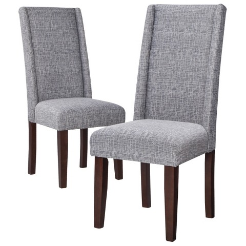 Charlie modern wingback dining chair set of 2 target for Modern high back dining chairs