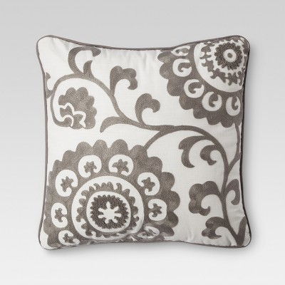 "Threshold™ Suzani Embroidered Pillow - Grey (18""x18"" )"