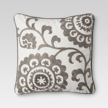 "THRESHOLD™ SUZANI 18""X18"" EMBROIDERED PILLOW"