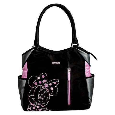 Disney Minnie Mouse Fashion Tote Diaper Bag - Black/Fuschia/Grey