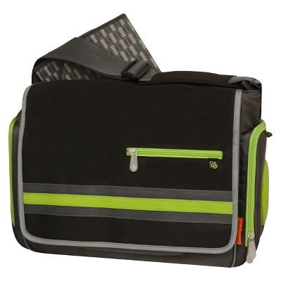 Fisher-Price Urban Messenger Diaper Bag - Black, Lime, Grey