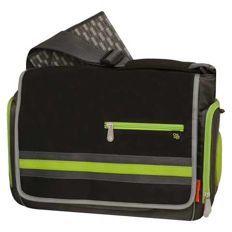 Fisher Price Urban Messenger Diaper Bag - Black/Lime/Grey