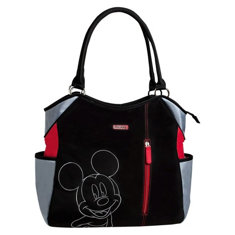 Disney Mickey Mouse Fashion Tote Diaper Bag - Black/Red/Grey