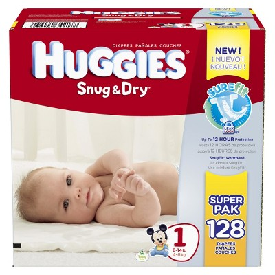 HUGGIES® Snug & Dry Diapers Size 1 (128 count)