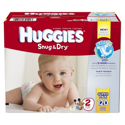 HUGGIES® Snug & Dry Diapers Super Pack Size 2 (120 count)