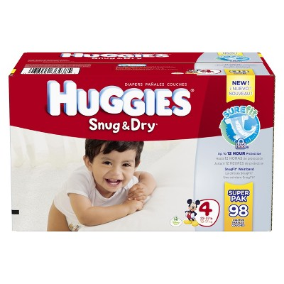 HUGGIES® Snug & Dry Diapers Super Pack Size 4 (98 count)