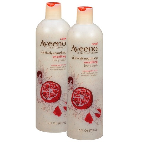 Aveeno Smoothing Pomegranate + Rice Body Wash Set  - 2 Pack