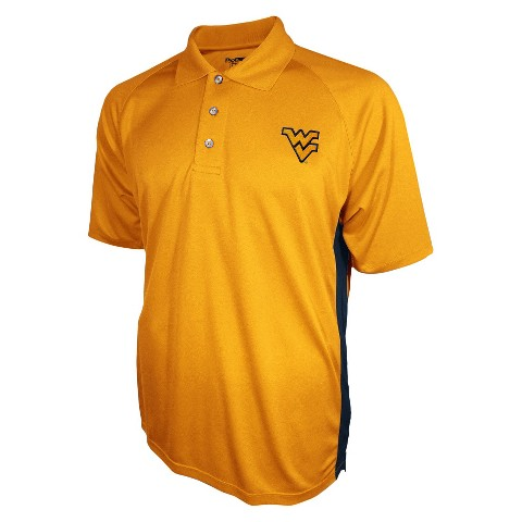 West Virginia Mountaineers Men's 3 Button Polo Yellow