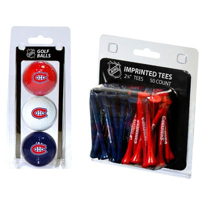 Montreal Canadiens 3 Pack Golf Balls and 50 Tees