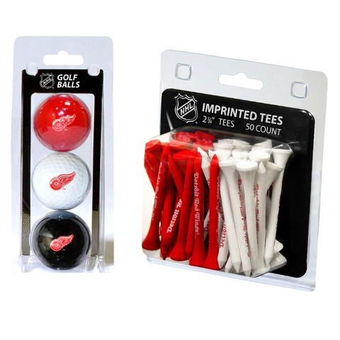 Detroit Red Wings 3 Pack Golf Balls and 50 Tees