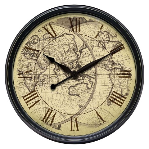 Infinity Instruments Distressed Old World Map Wall Clock