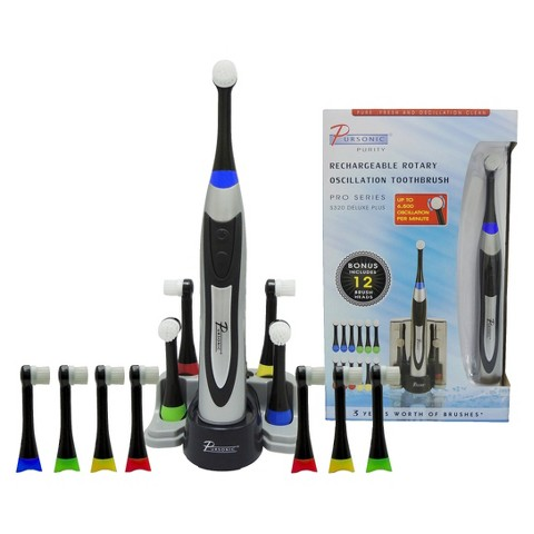Pursonic S320 Rechargeable Rotary Toothbrush with 12 Brush Heads