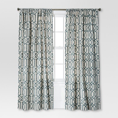 "Threshold™ Farrah Lattice Curtain Panel - Blue (54x95"")"