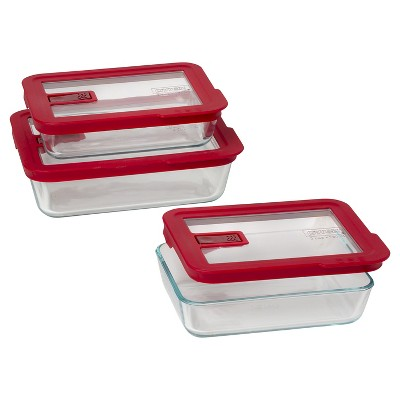 Pyrex No Leak Lid Rectangle Storage 6pc VP