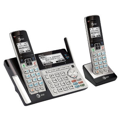 AT&T DECT 6.0 Connect to Cell Answering System with Dual Caller ID, 2 Handsets - Black/Silver (TL96273)