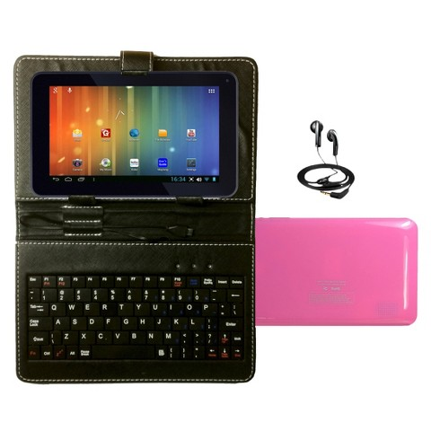 "Maylong 7"" Dual Core Tablet Bundle Google Play Android 4.2 Case Headphones Keyboard- Pink (MVP295PK)"