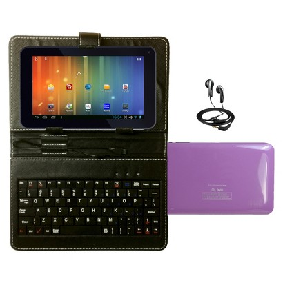 "Maylong 7"" Dual Core Tablet Bundle Google Play Android 4.2 Case Headphones Keyboard- Purple (MVP295PL)"