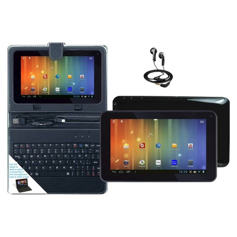 "Maylong 7"" Dual Core Tablet Bundle Google Play Android 4.2 Case Headphones Keyboard- Black (MVP295BK)"