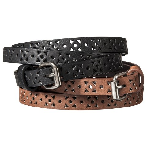Women's Narrow Perfortaed Belts - Set of 2 - Black & Brown - Mossimo Supply Co.™