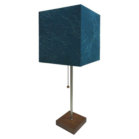 threshold square shade stick lamp with wood bas target. Black Bedroom Furniture Sets. Home Design Ideas