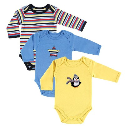 Luvable Friends™ Newborn Boys' 3 Pack Long-sleeve Bodysuit - Blue