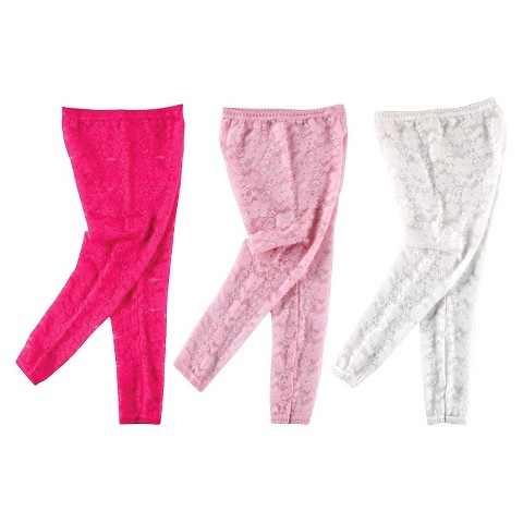 Luvable Friends™ Infant Girls' 3 Pack Footless Lace Tights - Pink/White