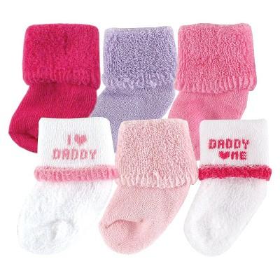 ECOM Luvable Friends™ Newborn Girls' 6 Pack I Love Dad Socks - Pink 0-6 M