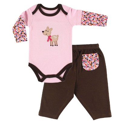 Luvable Friends™ Newborn Girls' Long-sleeve Bodysuit and Pant Set - Pink