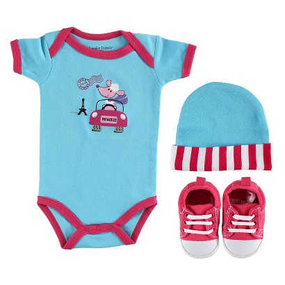 Luvable Friends™ Newborn Girls' Bodysuit, Cap and Bootie Gift Set - Pink 0-6 M