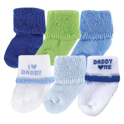 Luvable Friends™ Newborn Boys' 6 Pack I love Dad Socks - Blue 0-6 M