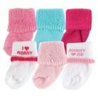 Luvable Friends™ Newborn Girls' 6 Pack I Love Mom  Socks - Pink 0-3 M