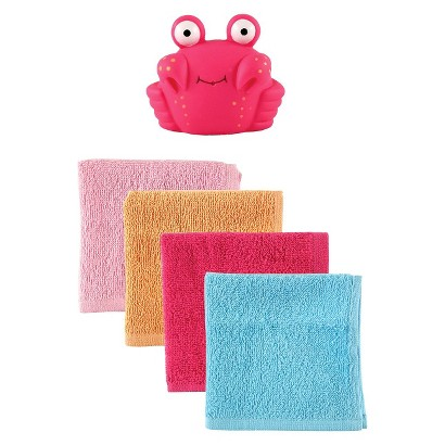 Luvable Friends™ Infant Girls' 4 Pack Washcloth Set with Bath Toy - Pink